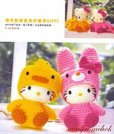 Crocheted Amigurumi Hello Kitty in Easter Costume (Chick and Bunny) - free crochet pattern