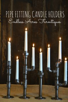 Pipe Fitting Candle Holders Tutorial by Endless Acres Farmtiques www.endlessacresfarmtiques.com http://endlessacresfarmtiques.com/2013/12/22/pipecandleholders/