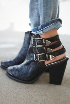 { Jeffrey Campbell + Free People Women's Storm Ankle Boot } triple buckle excellence