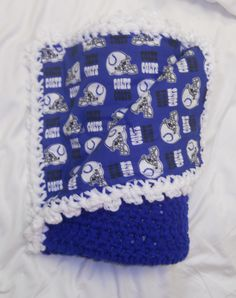 Crochet Indianapolis Colts Baby Blanket.