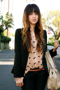 polka dot blouse. love the brown belt w/ black pants and | http://coolbeltcollections.blogspot.com