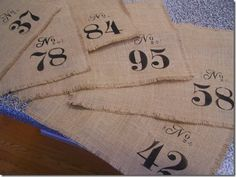 numbered placemats