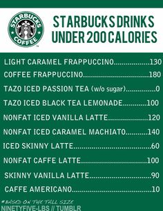 Starbucks under 200 calories
