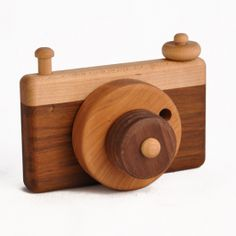 Wooden Toy Camera. Handmade in New England of a variety of hardwoods. Shutter button moves up and down. So CUTE! $29.95