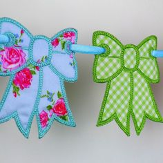 "Bow Bunting In The Hoop Project Machine Embroidery Design Applique Patterns all done ITH 4 sizes 4"", 5"", 6"" and 7"". $4.95, via Etsy."