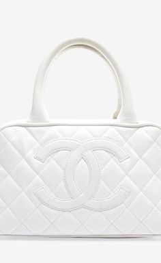 Chanel White Caviar Quilted CC Bowler Bag