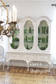 mustard seed, china cabinets, milk paint, paint furnitur, china hutch, glass, hutch paint, paint white, china cabinet painted