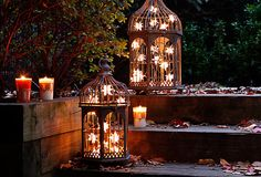 Bundle strung lights in your outdoor lanterns to keep the party going all night!