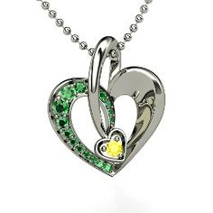 Arrow in My Heart Pendant, White Gold Necklace with Emerald