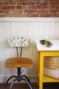 Vintage Floral Chair DIY with removable wallpaper