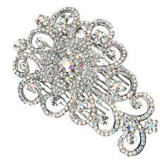 Swarovski Crystal Floral Bridal Comb - Bridal Jewellery - Crystal Bridal Accessories