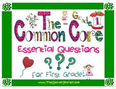 """Essential Questions Posters for Pre-K through 3rd.....  """"made-to-match"""" the existing Common Core Standard Posters... Click  """"FOLLOW"""" for notification of upcoming """"Free Download Windows""""!!!"""