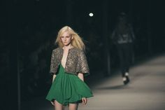 """Silver """"chain"""" jacket over preppy green dress.  Feminine and edgy.  Saint Laurent 2013 from Interview Magazine"""