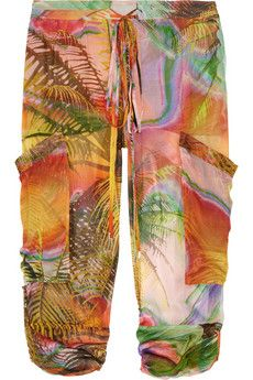 MATTHEW WILLIAMSON  Tropical-print silk-mousseline pants - Great Summer Pants!
