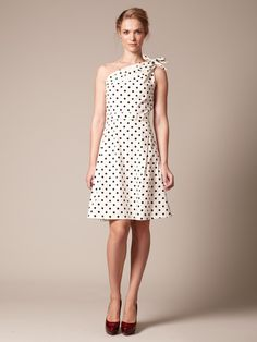 Carolina Herrera Cotton Bow Shoulder Dress