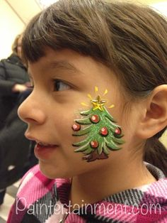 xmas trees, christma facepaint, face paintings, rhineston star, face paint star, christma tree, christmas trees