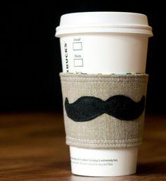 Mustache Groomsmen Gifts - mug accessory groomsmen gift, craft, groomsman gifts, mustach, coffee cups, thought, coffe cozi, amy butler, coffee cozy