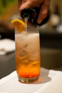 A classic Aperol Spritz from our Southern Social in Houston made with Prosecco, Aperol Orange Liqueur, and a splash of soda.