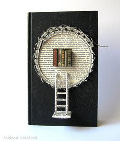 """Book Paper Art Sculpture - Altered Book - """"A Book"""" by Emily Dickingson. MalenaValcarcel on easy.com"""