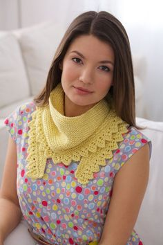 Caron International ....Short Row Shawlette....perfect for Summer and for those of us who work in chilly offices!