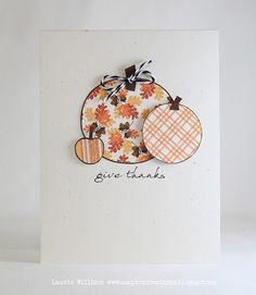 Give Thanks this fall with this simple handmade card.  Punch or cut circles using fall-themed papers and scraps of brown to create these sweet pumpkins.