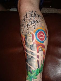 tattoo cover, cubbi, calf sleev, chicago cubs tattoo, ink