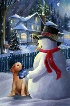 snowpeopl, dog, snowflak, friend, christma