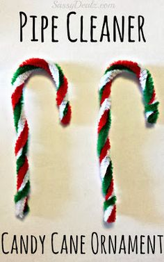 Make a candy cane ornament out of green, red, and white pipecleaners! Very cheap and easy to make for a kids craft at Christmas.