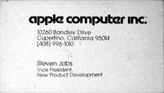 Steve Jobs business card 1979