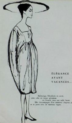 1958 Balenciaga boceto de, fashion sketch, cristob balenciaga