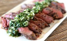 Grilled Skirt Steak with Cilantro Chimichurri Sauce by sagerecipes #Beef #Steak #Chimichurri #Argentina