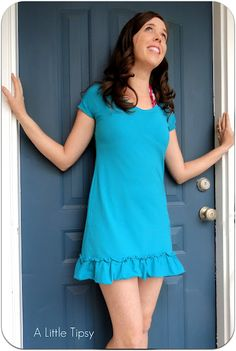 DIY tshirt dress. I would wear this over yoga pants or capri leggings for work. Buy a 5X tshirt, cut it down to size, re-sew the sides and use scraps for the ruffle on the bottom.