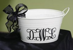 black and cream galvanized pail/personalized