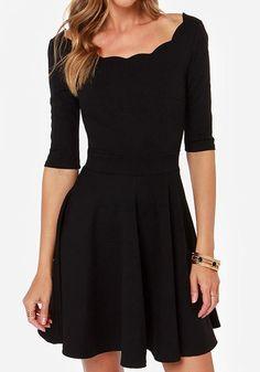 Simple and Elegant! Love the Scalloped Neckine! Black Plain Half Sleeve Knit Mini Dress #Simple #Elegant #Black #LBD #Party_Dress #Fashion