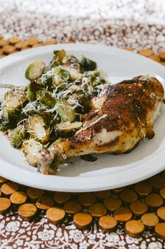 One-Pan Crispy Chicken Legs & Brussels Sprouts {Gluten-Free & Paleo}