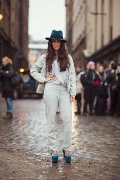 #women #fashion #style #clothing #outfit #pants #top #white #heels #hat #blue #spring