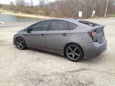 """18""""x8.5"""" Forgestar CF-5s in matte gray, with Nitto Motivos 235/40/18.  Car wrapped in 3M 1080 Scothcal wrap vinyl Matte Gray Metallic."""