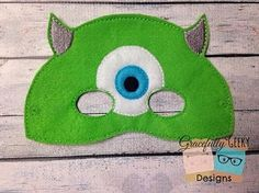 Mike Monster Felt Mask Embroidery Design - 5x7 Hoop or Larger