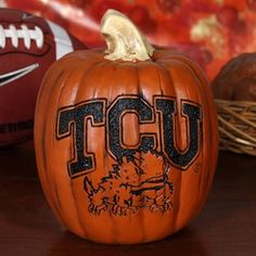 TCU Horned Frogs 7'' Resin Decorative Pumpkin
