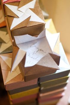 origami inspired favor boxes  Photography by  thompsonpoole.com    # Pinterest++ for iPad #