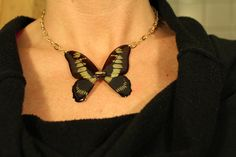Real Butterfly Wing Gold Necklace  http://www.etsy.com/listing/98827077/real-butterfly-wing-gold-necklace#