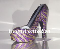 Gold & Purple Zebra High Heel Shoe TAPE DISPENSER Stiletto Platform - office supplies - trayart collection. $29.50, via Etsy.