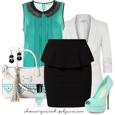 """""""Turquoise with Peplum"""" by sharon-grisnich on Polyvore"""