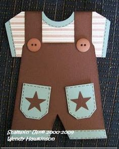 "Baby Boy Overalls card. Template is also pinned. Punches used are 1 1/4"" Circle for the round neckline, 1 1/4"" square cut out of neckline of overalls and Small Ticket, and Small Star for pockets."