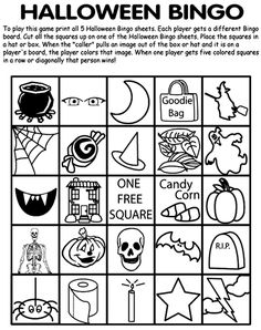 Halloween Bingo- would need some modifications.