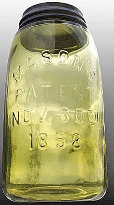 Mason's, Patent Nov 30th 1858, Yellow Olive, QuartA quart yellow olive Mason's glass fruit or canning jar with embossed Patent Nov 30th 1858