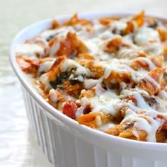 Healthy three cheese chicken penne pasta bake that won't remind you that  you are eating healthy.