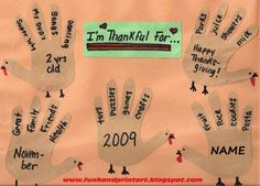 Handprint and Footprint Art : Thankful Turkey Hands Craft