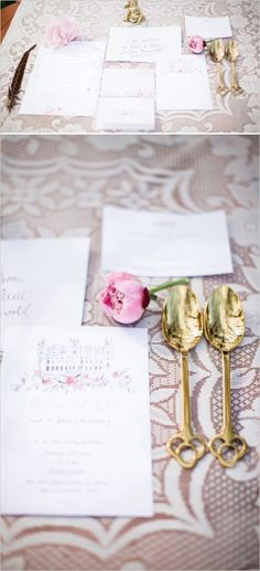 elegant pink and cream wedding stationery
