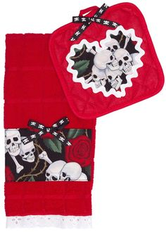 PAPERDOLL TOWEL SET SKULL ROSE RED Update your kitchen with Paperdoll! This bright red potholder & kitchen towel feature a skull rose pattern with skull & crossbones bow details. $24.00 #paperdoll #kitchen #set #potholder #towel #kitchentowel #skulls